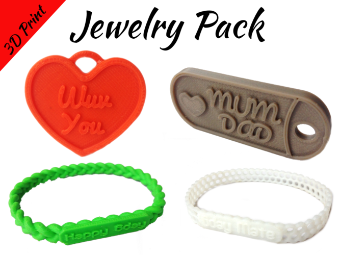Jewelry Pack - Bracelet Wristband Pendant Military Dog Tag Heart 3D Print 194948