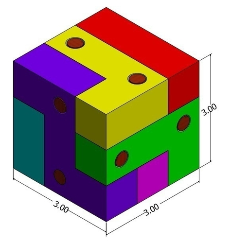 Block and Pin Puzzle 3D Print 195498