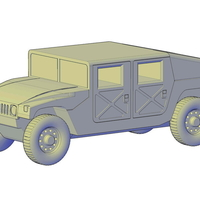 Small HMMWV Hummer H1 Military Slantback 3D Printing 195641