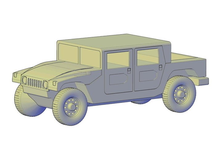 Hummer H1 double cabine pickup 3D Print 195657