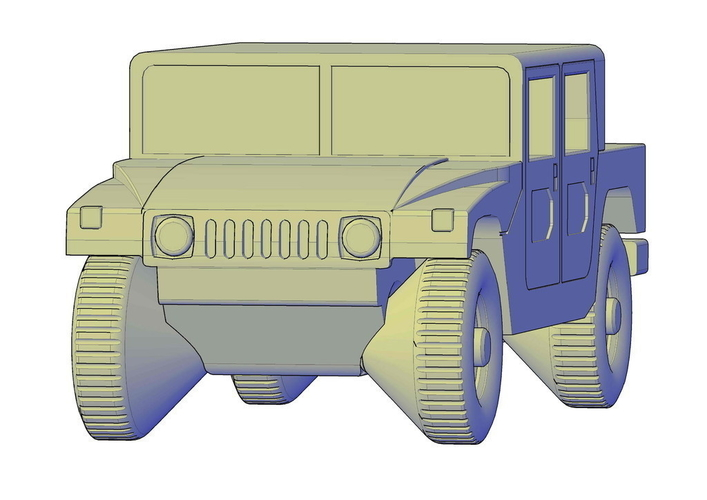 Hummer H1 double cabine pickup 3D Print 195658