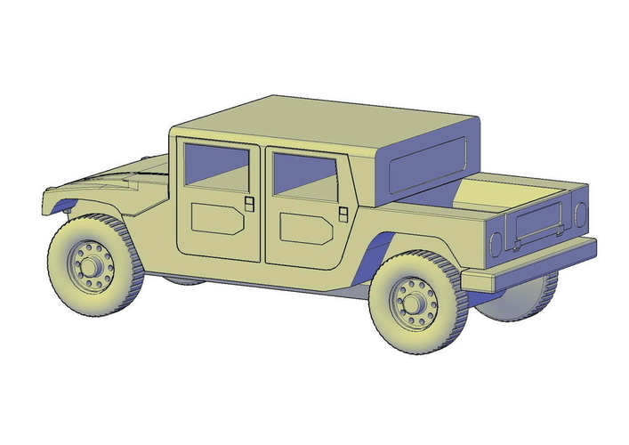 Hummer H1 double cabine pickup 3D Print 195660