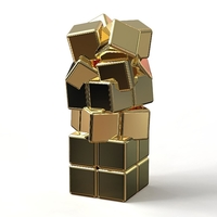 "Small ""CRAZY CUBES"" GOLDEN STEEL PENDANT MINI EDITION 3D Printing 195922"