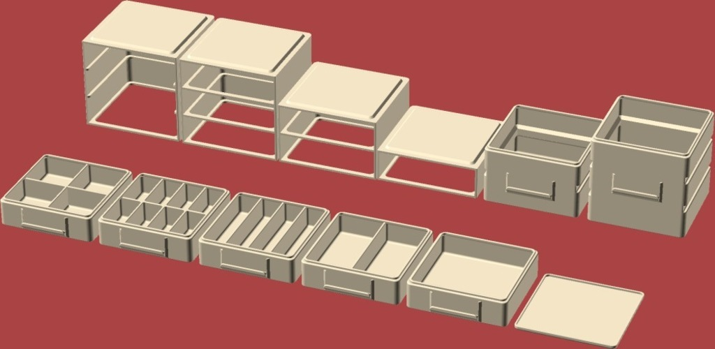 Stacking/Sliding Drawer Boxes 3D Print 19600