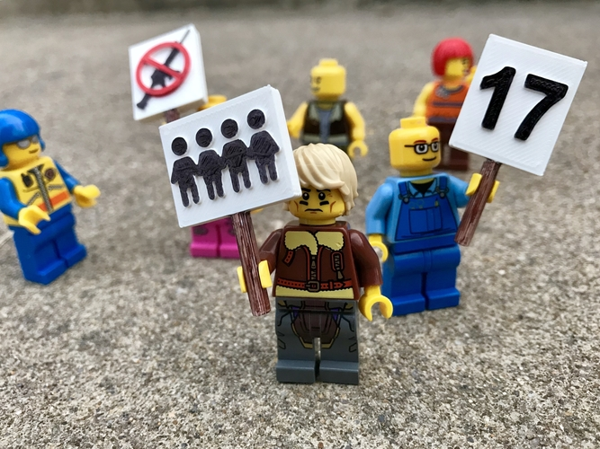 March for Our Lives Signs - MiniFig Compatible 3D Print 196006