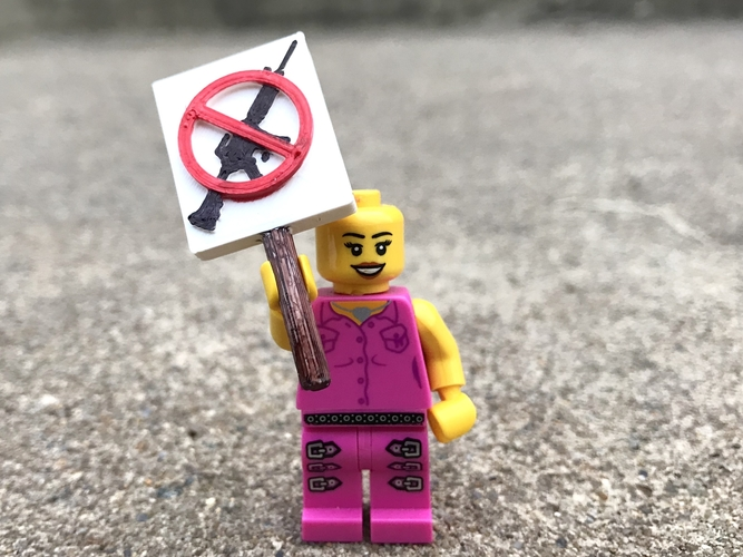 March for Our Lives Signs - MiniFig Compatible 3D Print 196008