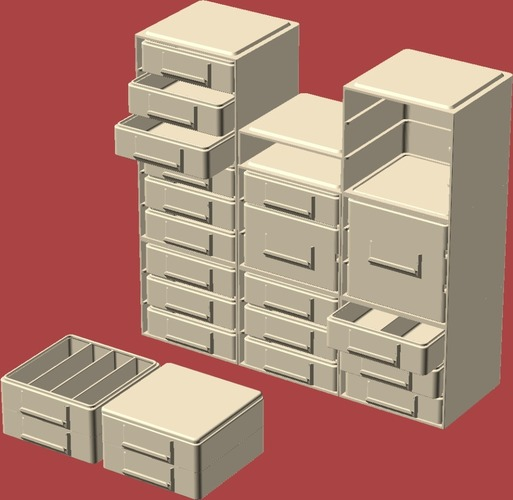 Stacking/Sliding Drawer Boxes 3D Print 19603