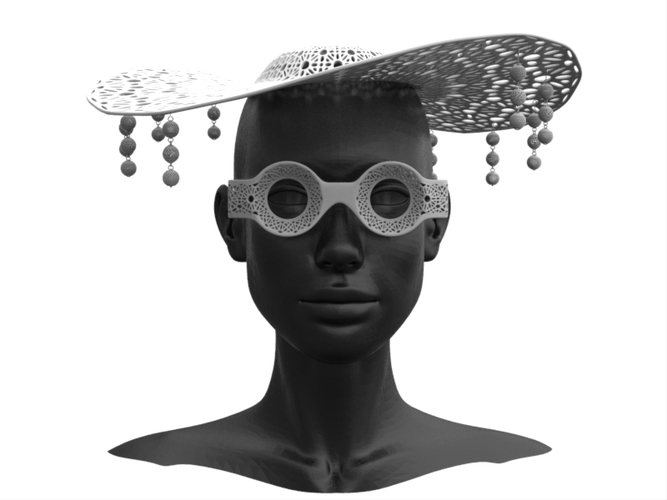 Hat and Glass 3D Print 19658