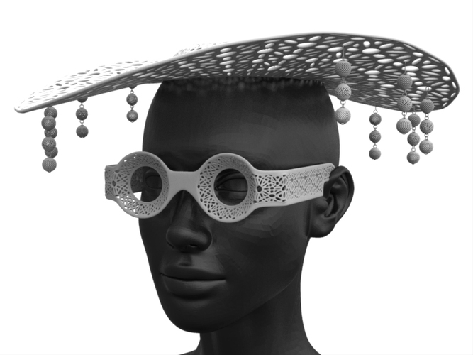 Hat and Glass 3D Print 19659