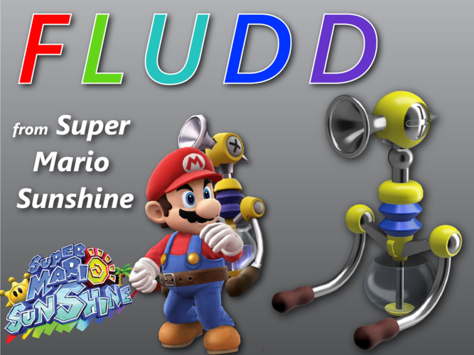 3d Printed Fludd Super Mario Sunshine By Marty Hanapole Pinshape