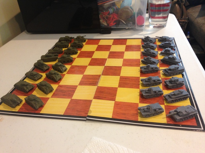 WWII Tank Chess Set 3D Print 19792
