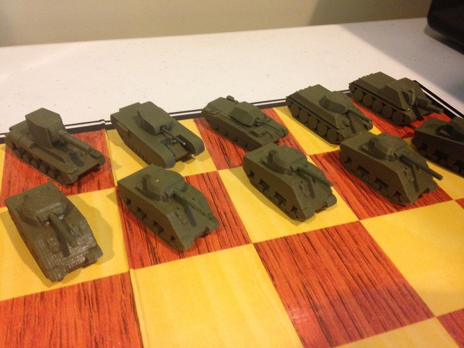 WWII Tank Chess Set 3D Print 19794