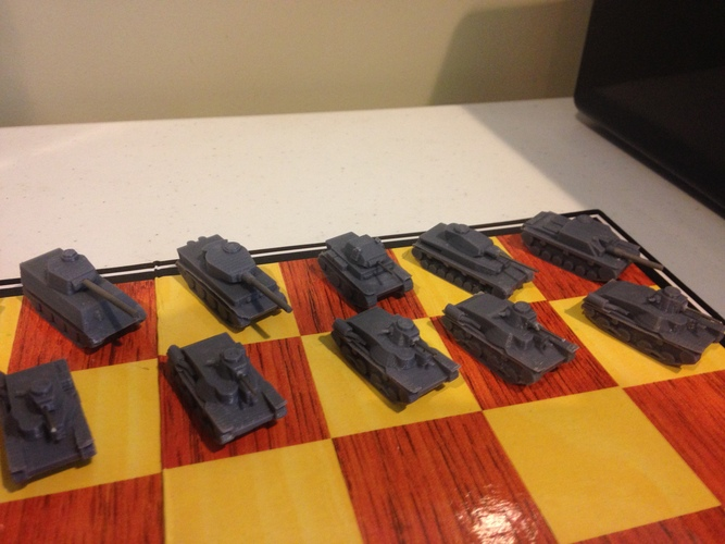 WWII Tank Chess Set 3D Print 19798