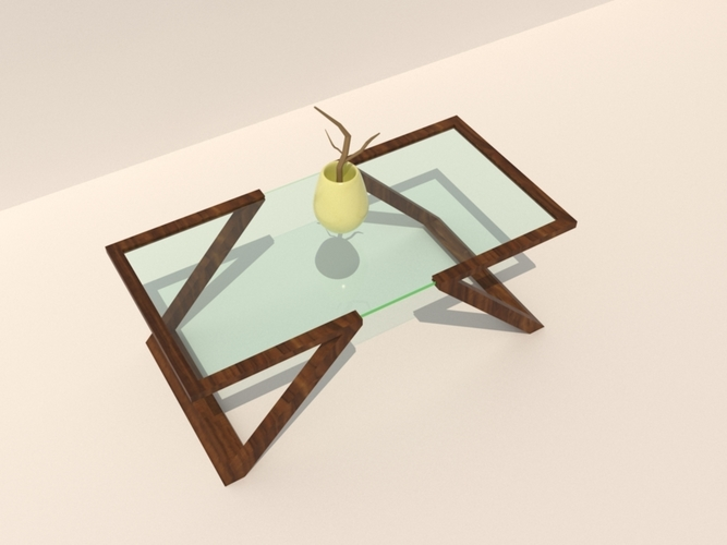 Wood and Glass Table 3D Print 198682