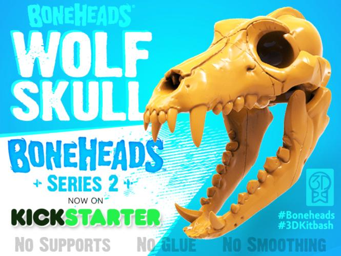 Boneheads S1 Wolf Skull W Jaw 3dkitbashcom - free 3d models skull