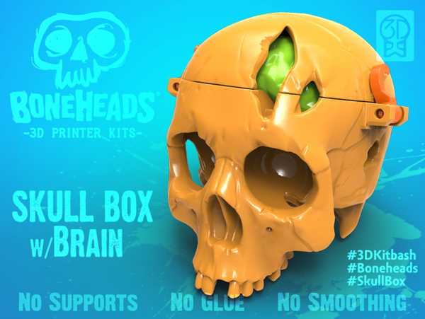 Medium Boneheads: Skull Box w/ Brain - via 3DKitbash.com 3D Printing 19994
