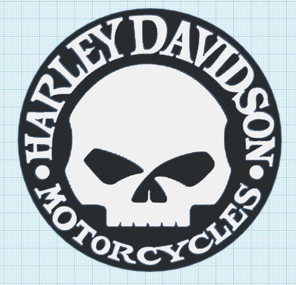 3d printed harley davidson willie g skull logo by mr ec pinshape