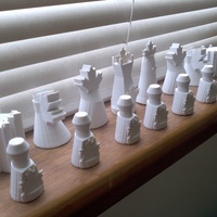 Small Maple Leaf Chess Set 3D Printing 20081
