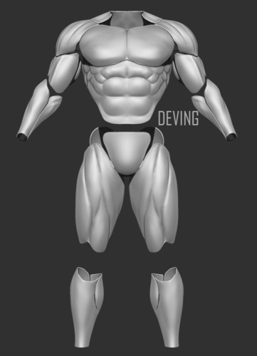 Batman muscle body for Muscle Suit Cosplay-v3 3D print model 3D Print 200911