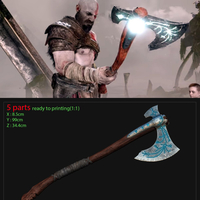 Small weapon Kratos axe God Of War 2018 3D Printing 201117