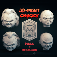 Small CHUCKY MASK and MEDALLION 3D Printing 201210