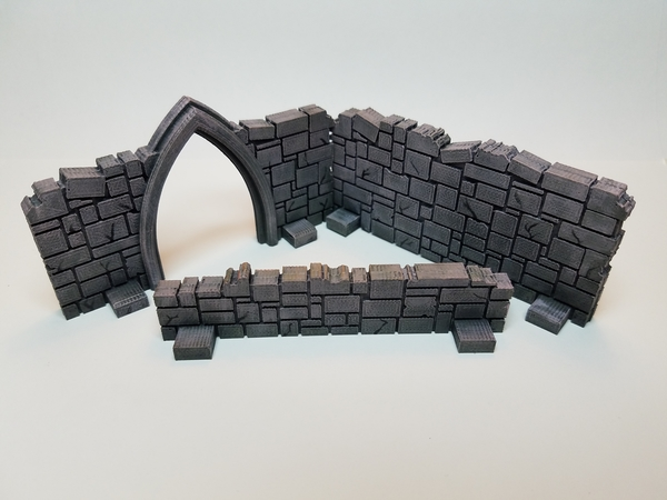 Medium Tabletop Terrain - Stone Walls 3D Printing 201524