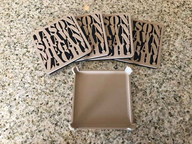 Customizable Coasters with Holder 3D Print 201756