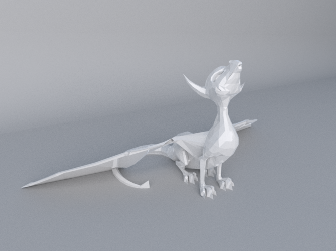 Low Poly Dragon- support free 3D Print 20188