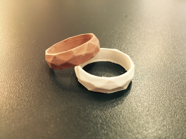 Medium Low poly ring  3D Printing 20198