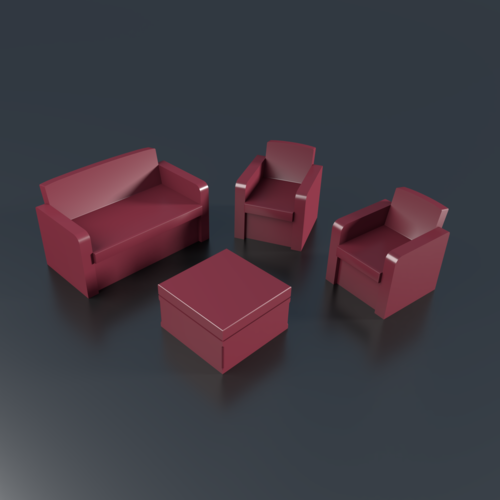Patio 3 items, couch, sofa 3D Print 201992