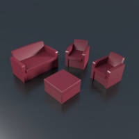 Small Patio 3 items, couch, sofa 3D Printing 201992