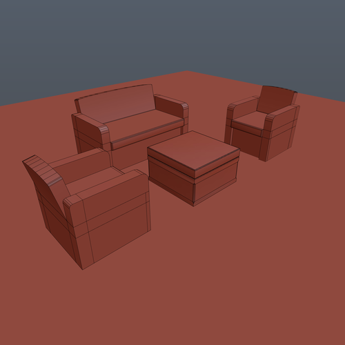 Patio 3 items, couch, sofa 3D Print 201996