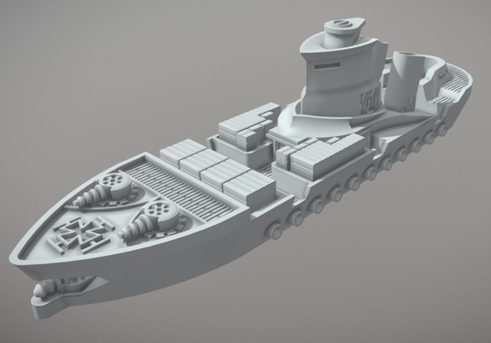 Rostock Class Armoured Supply Carrier 3D Print 202312