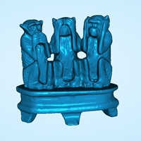 Small The 3 Wise Monkeys 3D Printing 202581