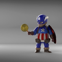 Small Chubby Captain America 3D Printing 204398