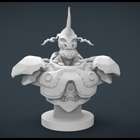 Small Alien Bust 3D Printing 20444