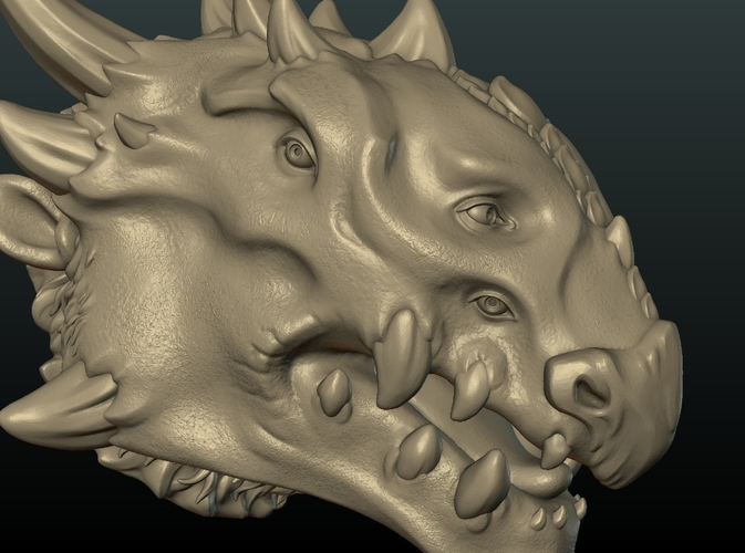 Demon Dragon Head 3D Print 205065