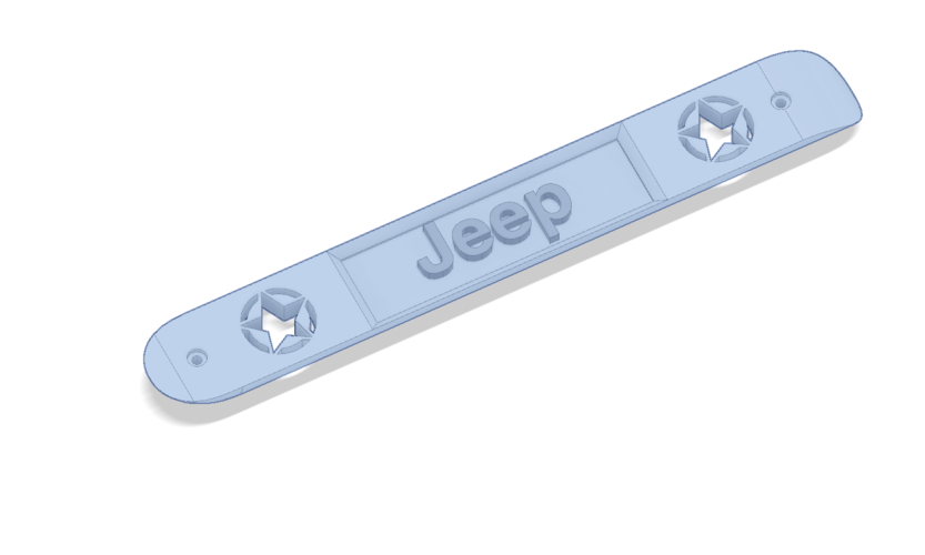 Jeep Wrangler JK Door Handle Insert with Jeep in Center 3D Print 206013