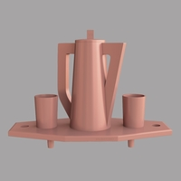 Small Tray with jug and glasses 3D Printing 206323