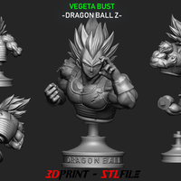 Small Vegeta Bust - Dragon Ball Z  3D Printing 206369