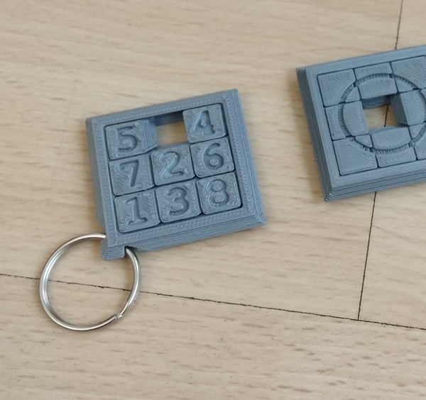 Medium Two Sided Sliding Puzzle Key Ring 3D Printing 207099