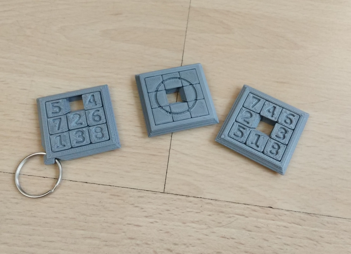 Two Sided Sliding Puzzle Key Ring 3D Print 207100