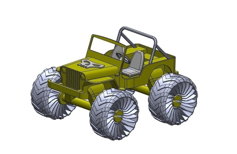 Old Wrangler jeep, airless wheels  3D Print 207734
