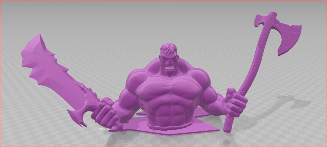 HUlk with GOW axe and chain knives 3D Print 207942