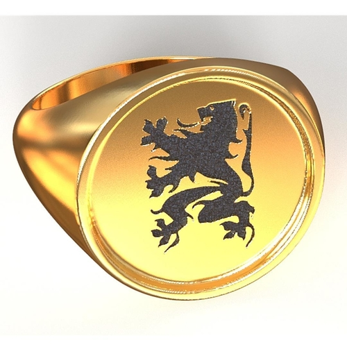 Flanders Lion ring 3D Print 208115