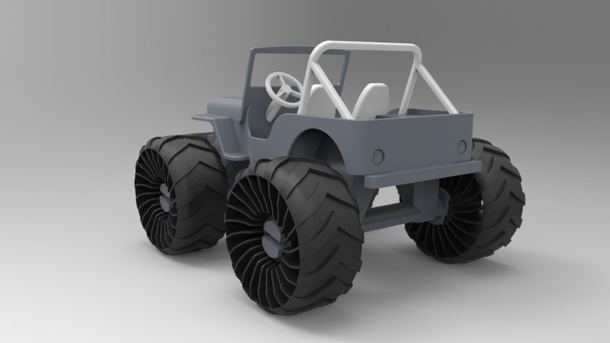 Old Wrangler jeep, airless wheels  3D Print 208411