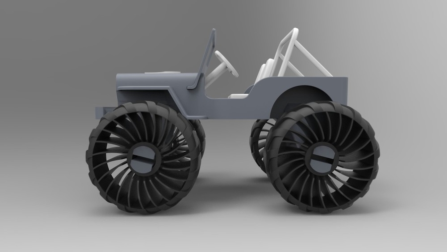 Old Wrangler jeep, airless wheels  3D Print 208413