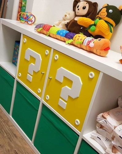 SUPER MARIO QUESTION MARK BLOCK IKEA FOR SHELFS 3D Print 208693