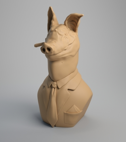 Pig Bust, The chief 3D Print 209080