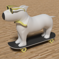 Small  Dog Skater Keychain 3D Printing 209595